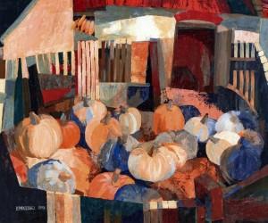 In The Courtyard. Autumn Still Life, 1979, tempera on masonite, 80x100