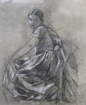 Female Figure (sketch), 1937, coal on paper, white, 50x41