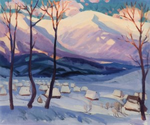 Winter Motif, Richka Village, 2003, tempera on canvas, 75x85