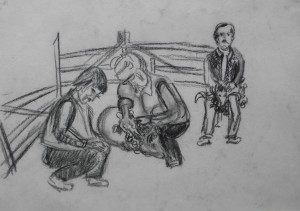 Овець стрижуть, 1984, пап. вуг., 42х62