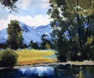 Пейзаж біля річки, 1993, 50x60