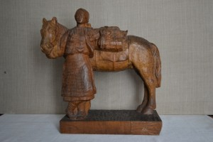 Hutsul With A Horse, 1946, wood (oak), round sculpture