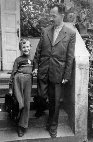 The first day of school. With his son Yaroslav, 1958 (From Y. Svyda)