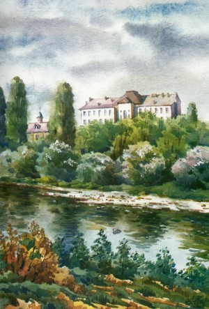View of the Faculty of Physics building 1995 watercolour