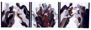 Спілкування, триптих, 1997, п. темпера, 62х186