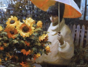 A Girl With Umbrella, 2009, oil on canvas, 80x100