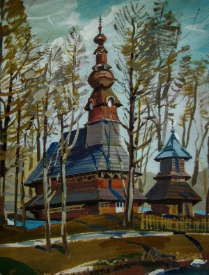 Wooden Church In Pylypets Village, 2012, gouache, tempera on cardboard, 75х55