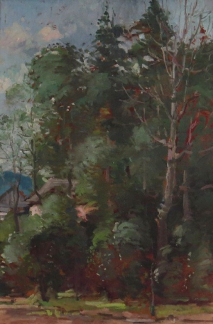 Walk In The Forest, 1960, oil on cardboard, 50x32