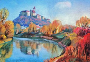 Mukachevo Castle 1999 pastel on paper