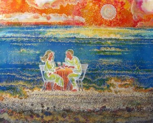 Lovers On The Coast, 2011, cold batik, painting, acrylic, 50х60