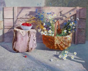"Still life with raspberries From the series ""Simple things"" oil on masonite, 68,5х84,1"