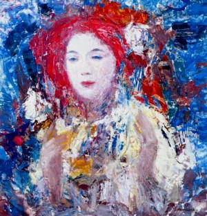A Girl, 1995, oil on cardboard, 85х43