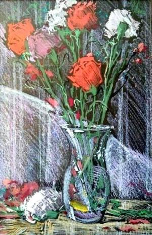 Гвоздики, 1993, пап.паст., крейда, 32х58
