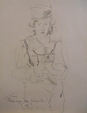 'A Woman In Folk Costume', 1986, pencil on paper, 49x63