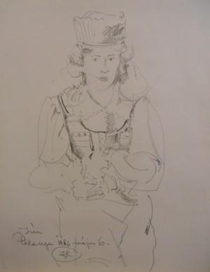 'Жінка в народному костюмі', 1986, пап.ол., 49x63