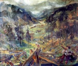 Заготівля лісу, 1950, фанера, о., 121х151
