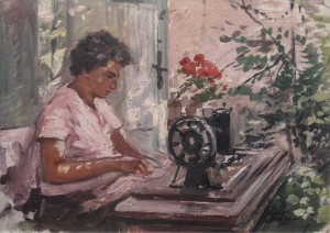 Sewing, 1960s, oil on cardboard, 74.5x47