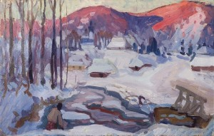 Winter Morning. Richka Village, 1959, oil on cardboard, 52x82