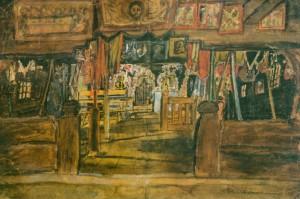 Інтер'єр гуцульської церкви, 1931, пап. акв. темп. 31х44,5