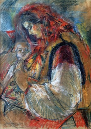Woman with a Baby, 1940, paper, pastel, 86х62