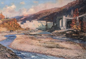 Transcarpathian Hydroelectric Power Station, 1955, oil on canvas, 90.5x129.5