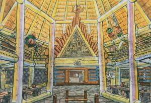 Інтер'єр центрального залу колиби «Мисливська», 1960-ті рр. пап.акв. 31х43