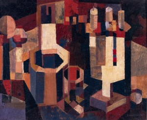 Still Life With Wooden Objects, 1978, oil on masonite, 38x59