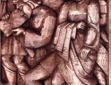 Семіон допомагає Ісусові нести хреста. Фрагмент