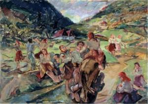 Жанрова сцена, 1940, пап.зміш.техн., 89х125