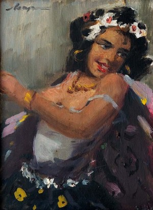 Young Gypsy Woman, oil on canvas, 20x13 - a copy