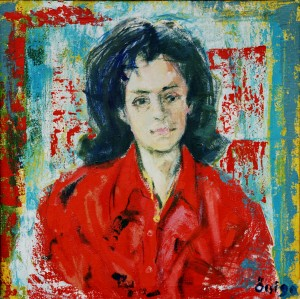 Letika, form the photo archive of Y. Nebesnyk, 1990, oil on canvas, 68x69