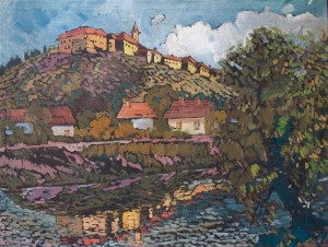 Mukachevo Castle, the 1960s, oil on canvas, 59x80