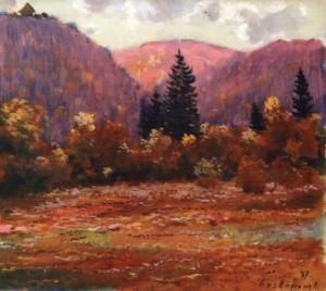 Пейзаж з Невицьким замком, 1987, 50x60