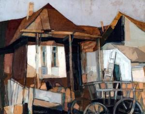 Осінній двір, 2003, п.о., 55х70