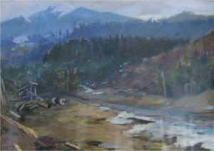 On Lumber Camp, 1960, pastel on paper, 30x34