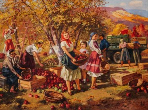 Apple Harvesting, 1950, oil on canvas, 121x210