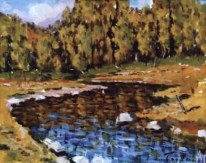 Пейзаж з осінньою річкою, 1982, 40x50