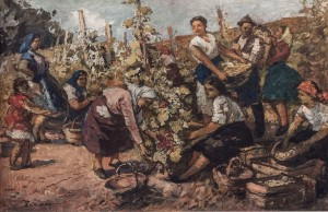 Grape Harvesting, beg. 1950s, mixed technique on cardboard, 50x78