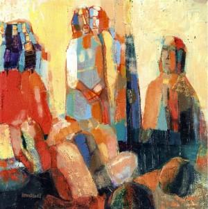 Autumn Theme, oil on canvas, 37x37