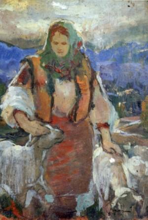 Гуцулка з ягнятами, 1940, фанера, о., 35,8х25