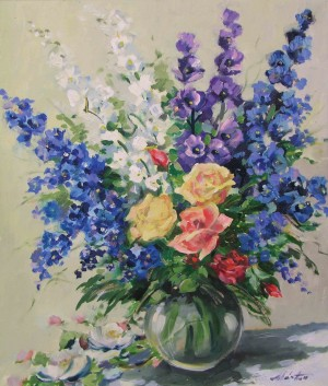 Still Life With Delphinium, the 1990s, oil on canvas, 70x60