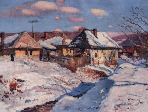 Winter In Kamianytsi Village, 1967, oil on canvas, 65x82.5