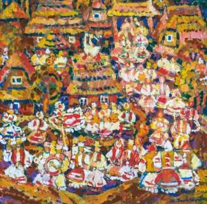 Verkhovyna, 2005, tempera on canvas, 97х97