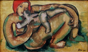Motherhood, from the photo archive of Y. Nebesnyk, 1969, oil on canvas, 72x120