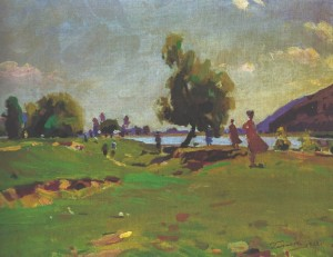On The Bank of The Tisza, 1962, oil on canvas, 53,5х69,5