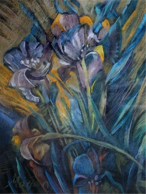 Still Life With Irises, pastel on cardboard, 63x47