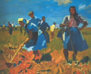 In The Collective Farms Field, 1957, oil on canvas, 100х122