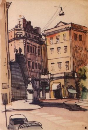 Італійська вуличка зі сходами, 1964, пап.флом. акв. 32,5х23
