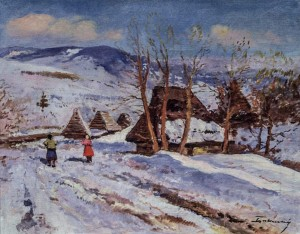 Winter In The Carpathians, 1960s, oil on canvas, 66x83
