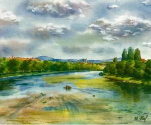 View of the River Uzh 1996 watercolour
